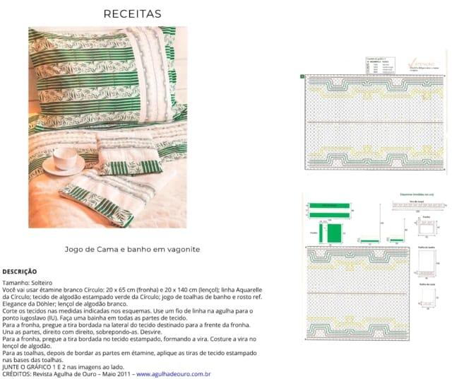 passo a passo com receita e gráficos de bordado vagonite