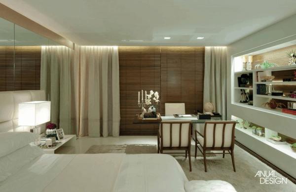 quarto moderno com persiana embutida na sanca