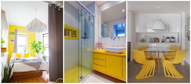 decoração em branco e amarelo