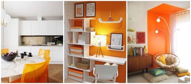 decoração em branco e laranja