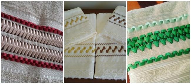 modelos de toalhas bordadas em fita