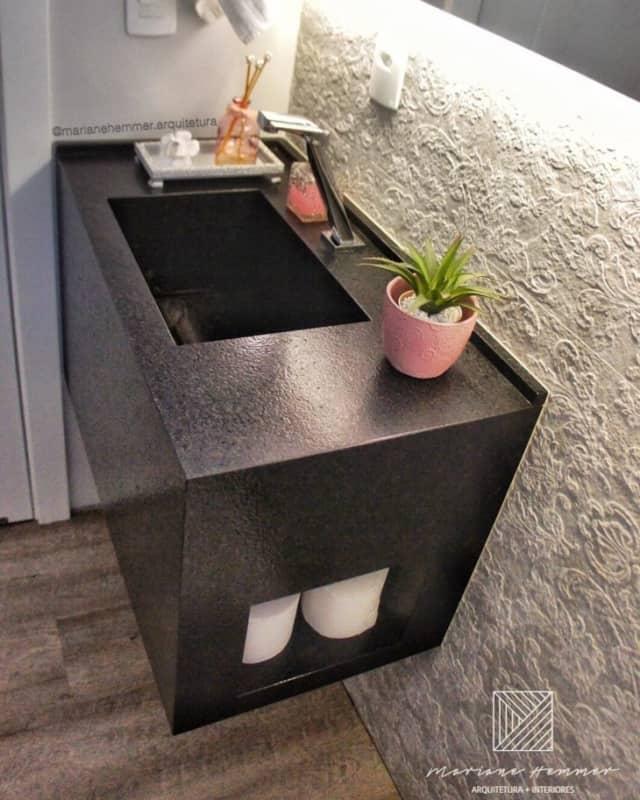 bancada moderna para banheiro em granito preto absoluto escovado
