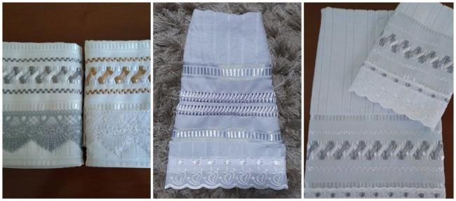 bordado de fita em toalhas