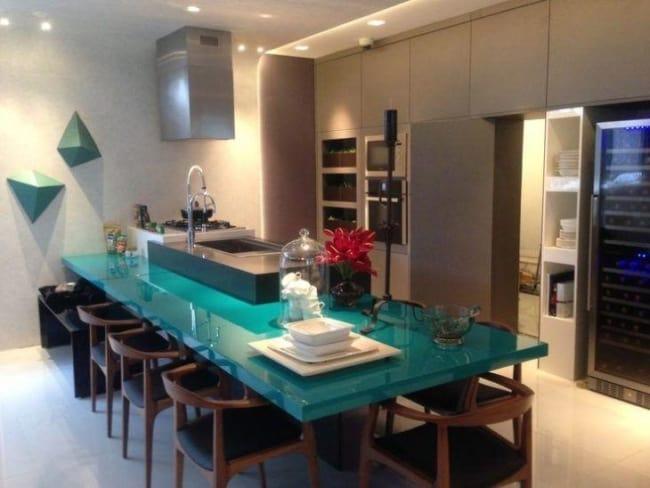 Azul tiffany e cinza em decoração de cozinha15