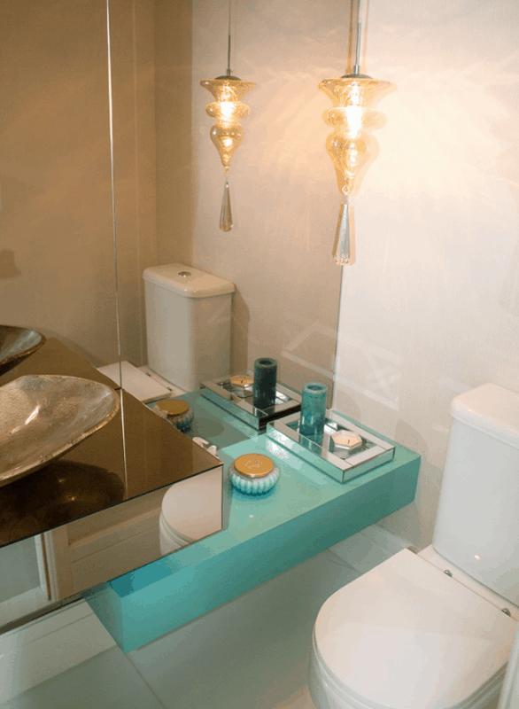 Banheiro com bancada azul tiffany28