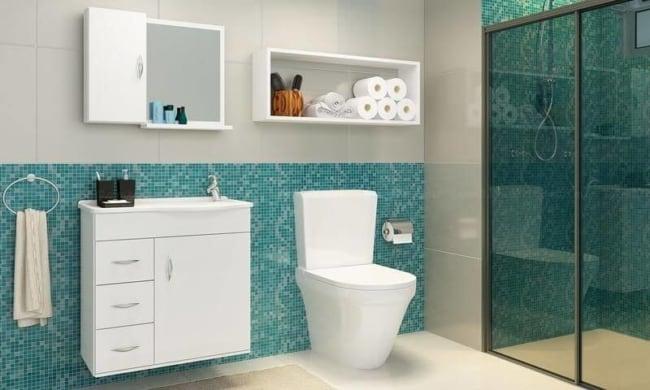 Banheiro com pastilhas azul tiffany32