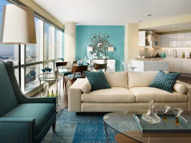Decoração azul tiffany e bege em sala47