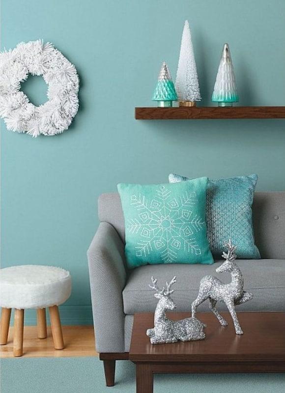 Decoração azul tiffany e cinza em sala65