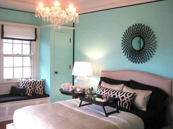 Decoração com parede azul tiffany em quarto36