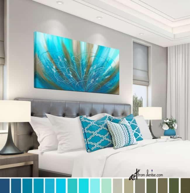 Decoração com parede quardro azul tiffany40