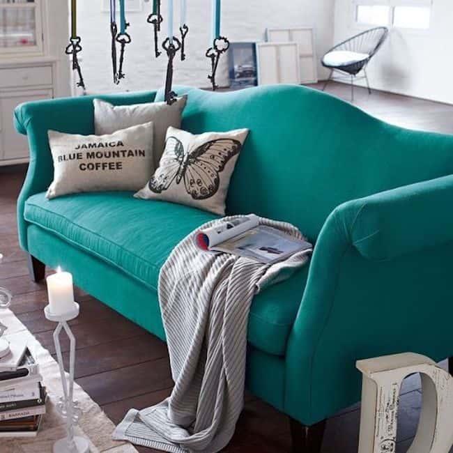 Decoração com sofá azul tiffany61
