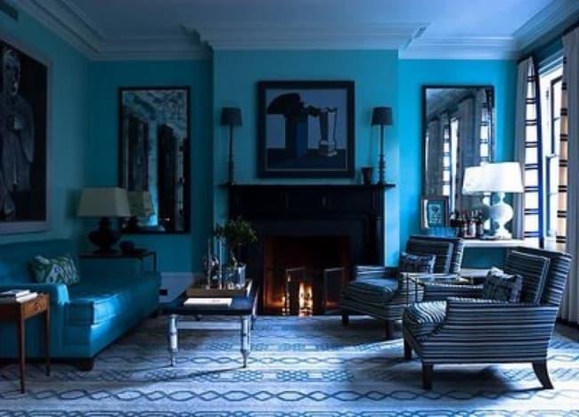 Decoração de sala com parede azul tiffany40