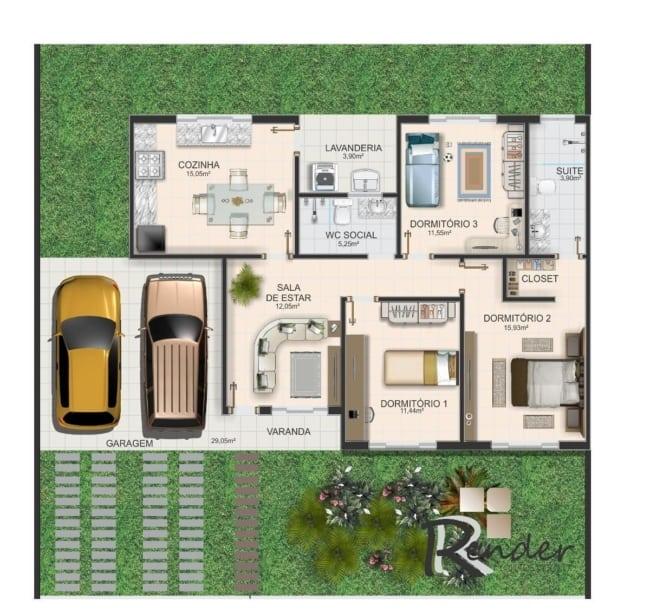 Estilo de planta de casas pequenas com três quartoes e duas vagas de garagem