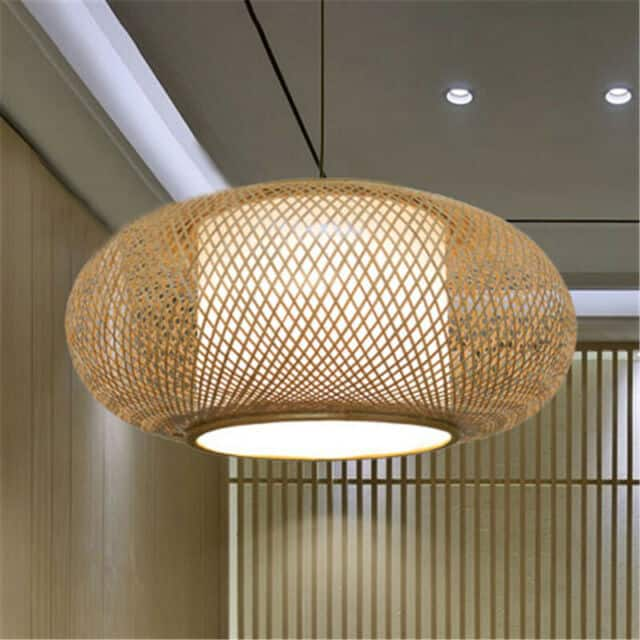 Luminária de rattan redonda22