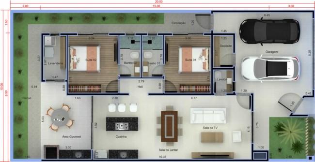 Modelo de casa térrea com dois quartos e duas vagas de garagem