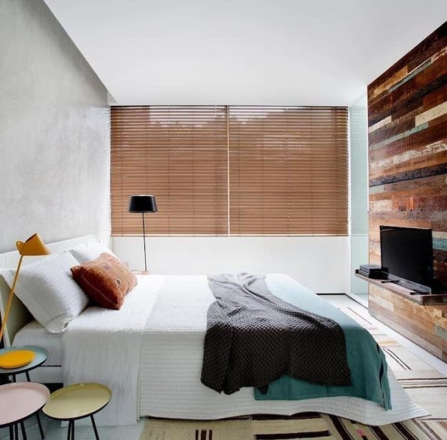 Modelo de persiana de madeira para o quarto