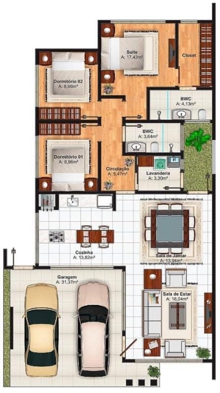 Modelo de planta de casas pequenas com cozinha americana