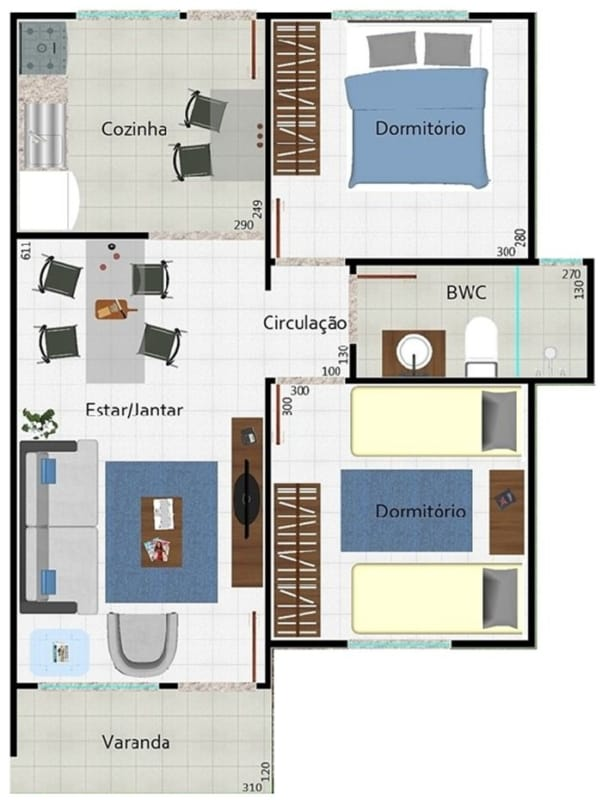 Outro modelo de planta de casas pequenas com dois quartos e salas de estar e jantar integradas