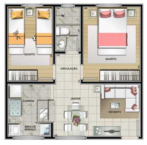 Planta com um banheiro dois quartos e salas integradas