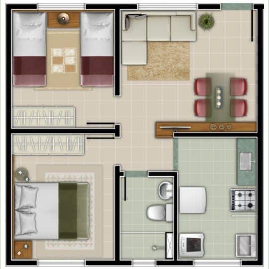 Planta de casas com apenas um banheiro e dois quartos