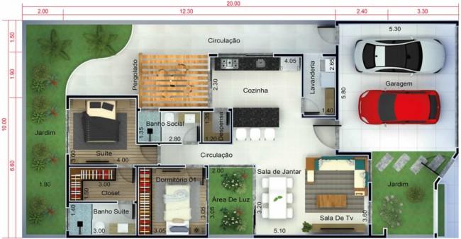 Planta de casas pequenas com dois quartos e duas vagas de garagem