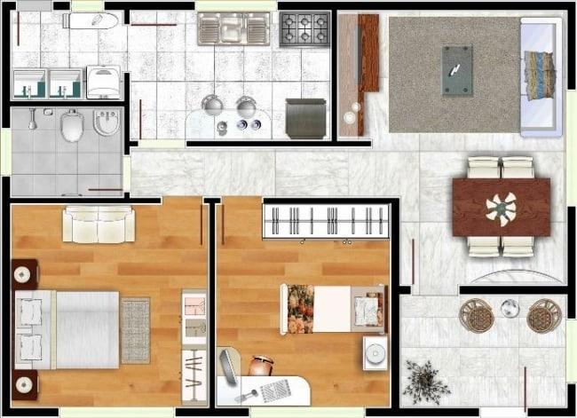 Planta de casas pequenas com sala de jantar e sala de estar integradas