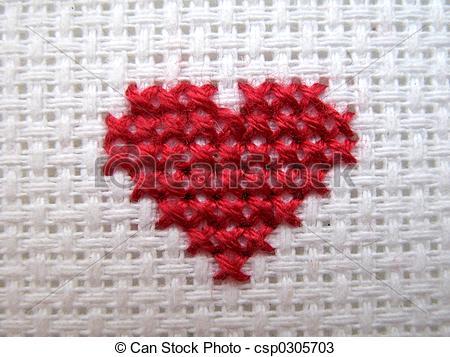 Ponto cruz de coração vermelho44