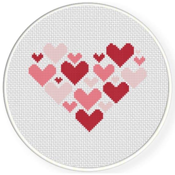 Ponto cruz de corações43