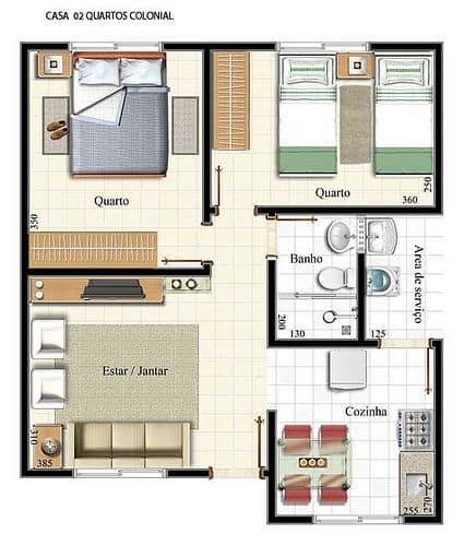 Projeto de casa com dois quartos