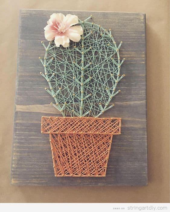 String art cactus decorado com flor26