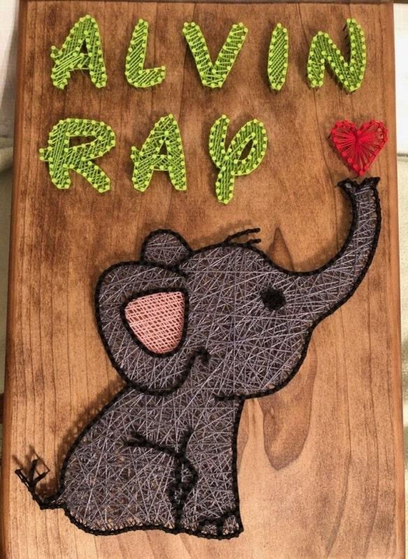 String art com nome e elefantinho15