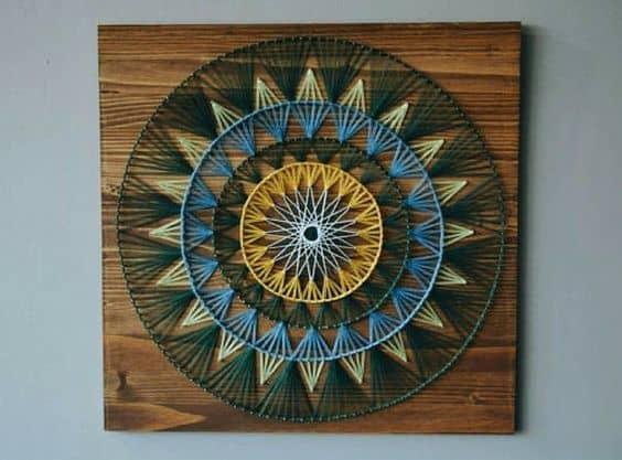 String art mandala com quatro cores3