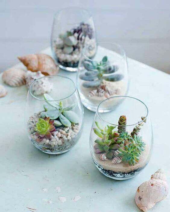 Terrário de suculentas em vidro pequeno ideias