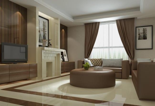 cortina bege bege na sala de estar