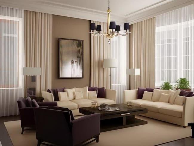 cortina marrom e bege na sala