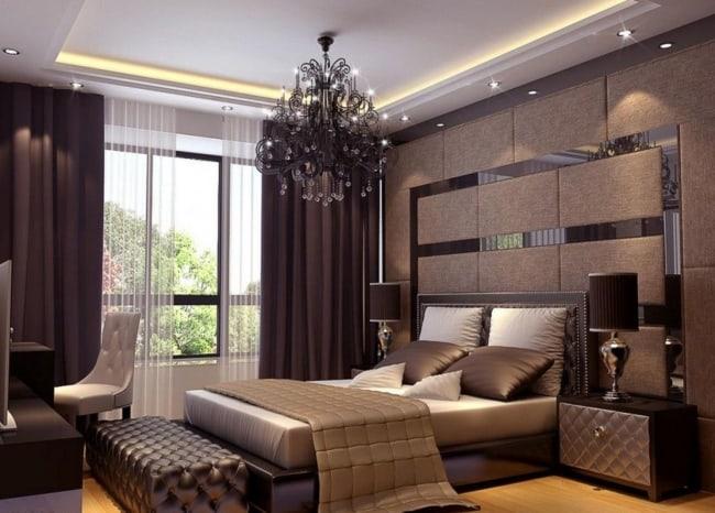 cortina marrom em quarto marrom