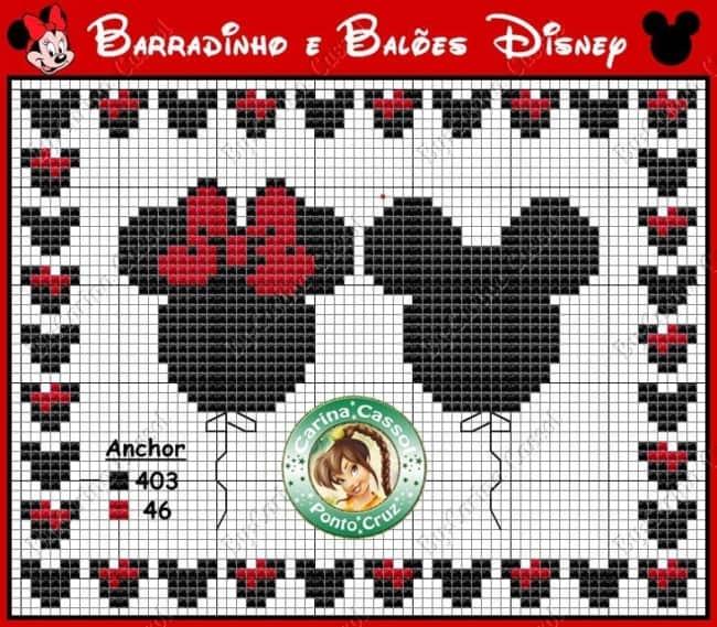 ponto cruz de Mickey e Minnie balões18