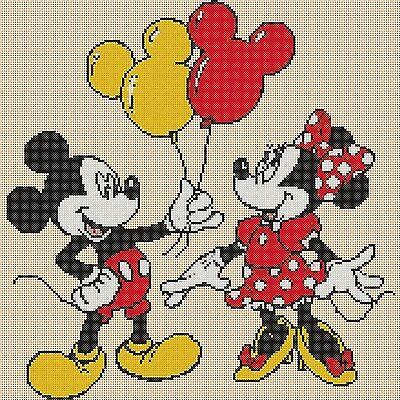 ponto cruz de Mickey e Minnie com balões19