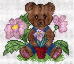 ponto cruz de ursinho com flores11