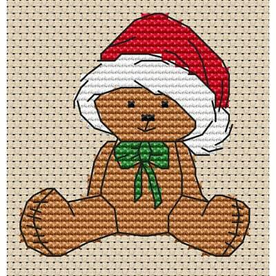 ponto cruz de ursinho com touca de Papai Noel12