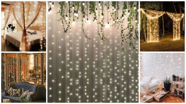 decoração com cortina de led