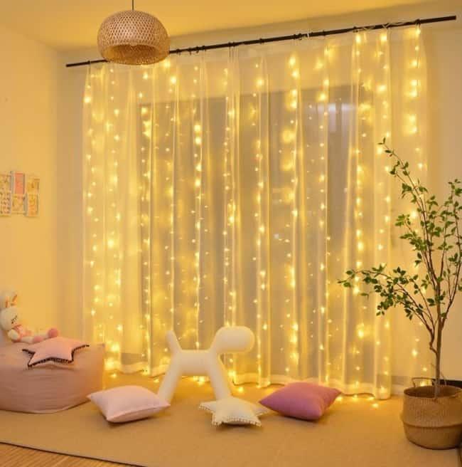 decoração de casa com cortina de led