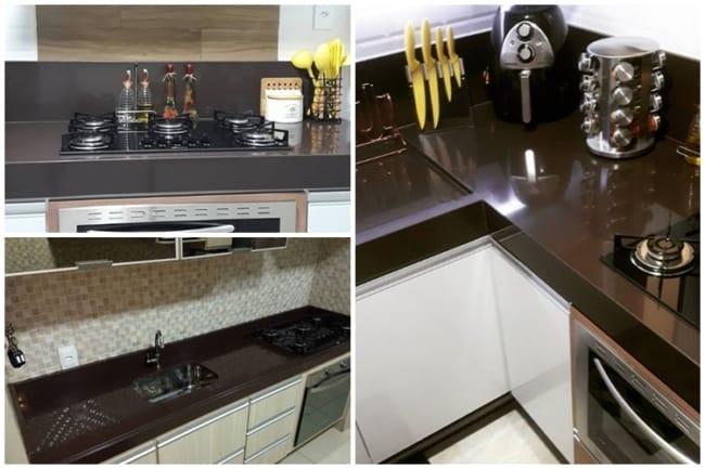 bancada de cozinha em granito marrom absoluto