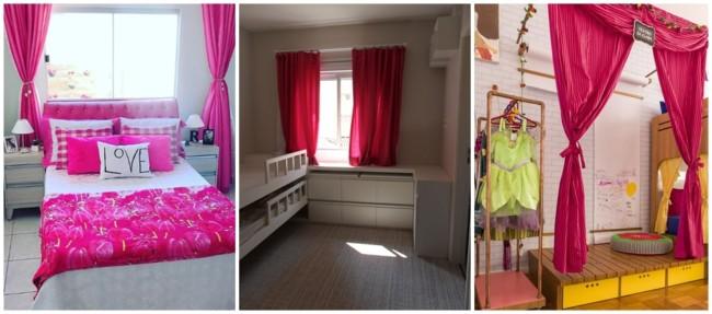 decoração com cortina pink no quarto