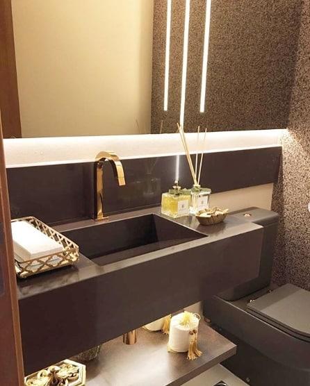 lavabo com granito marrom absoluto