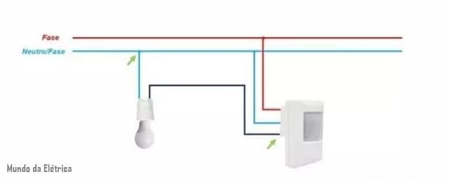 como fazer ligação de sensor de presença com acionamento da lâmpada