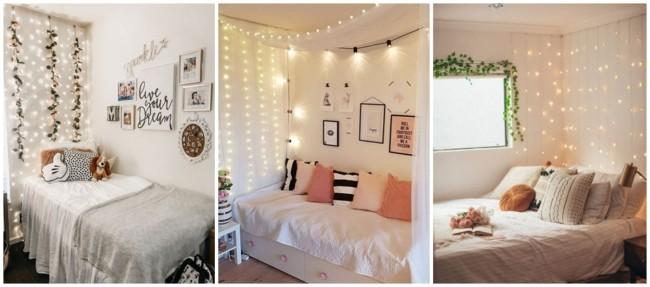 cortina de luzinhas na decoração de casa