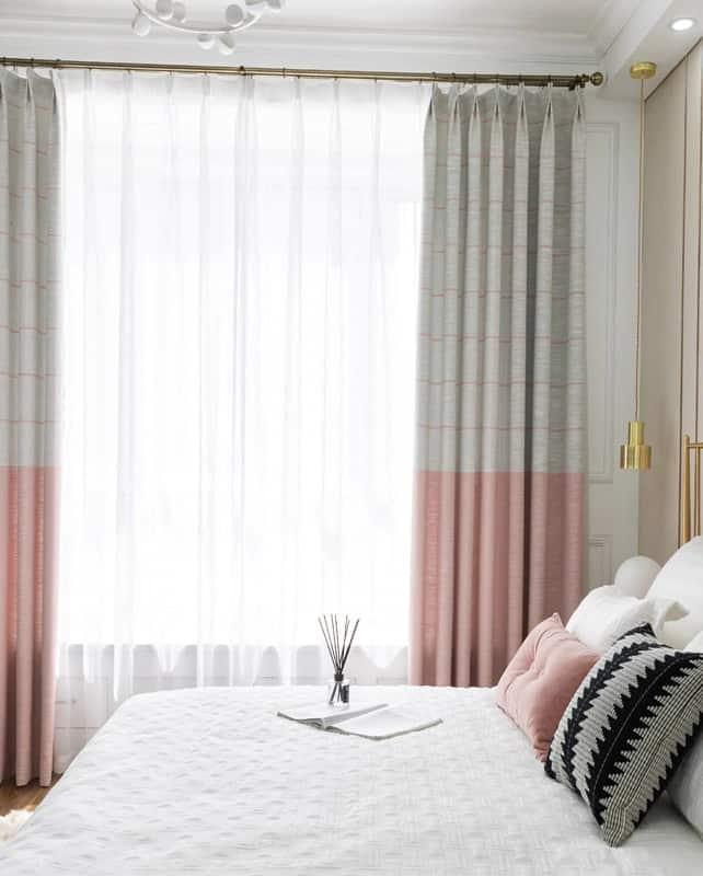 cortina moderna em rosa e cinza