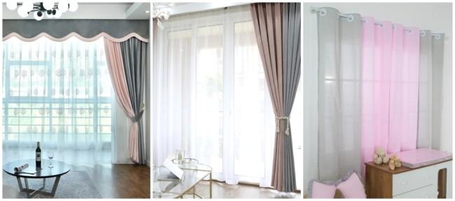 como usar cortina cinza e rosa na decoração