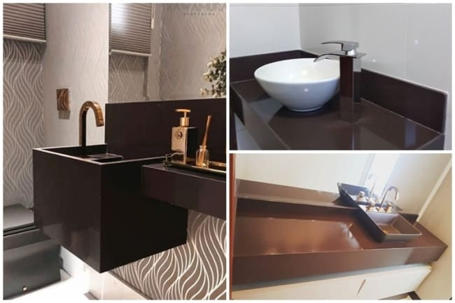 granito marrom absoluto no banheiro